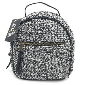 Quilted Mini Backpack Black White Faux Leather